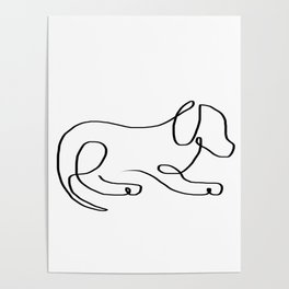 One line sleepy dog Poster