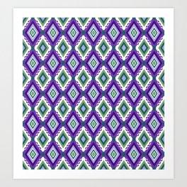 Ikat inspired purple and green abstract geometric pattern Art Print