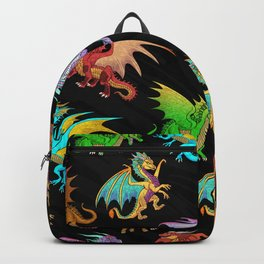 Colorful Rainbow Dragons School Backpack
