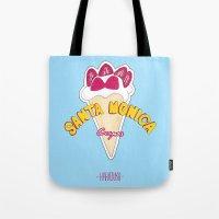santa monica Tote Bags featuring santa monica by DSD - Details Studio Design