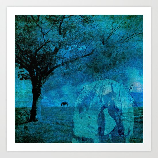 DREAM HORSE BLUE Art Print