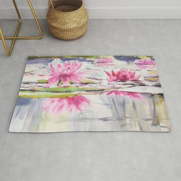 Passion Pink Lotus Flowers Rug