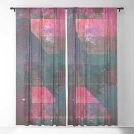 Pink Nebulae Sheer Curtain