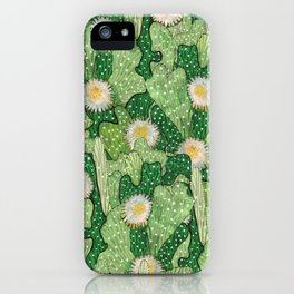 Cacti Camouflage, Green and White iPhone Case