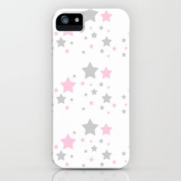 Pink Grey Gray Stars iPhone Case
