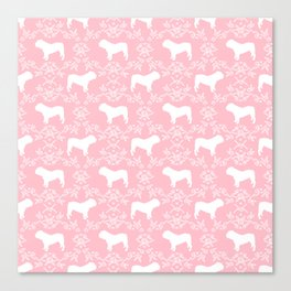 English Bulldog silhouette florals pink and white minimal dog breed pattern print gifts bulldogs Canvas Print