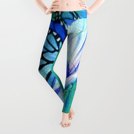 Butterfly, Flower And Leaves Leggings