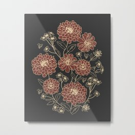 Floral pattern (zinnia, marigold, and daisy flowers) Metal Print