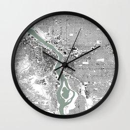 Portland, OR City Map Black/White Wall Clock