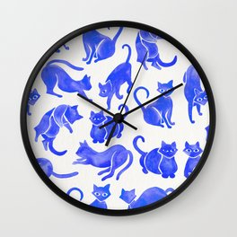Cat Positions – Blue Palette Wall Clock