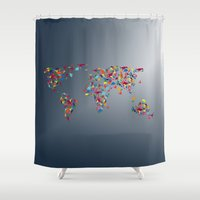 map of the world Shower Curtains featuring WORLD MAP  by mark ashkenazi