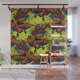 rooster ink chartreuse Wall Mural
