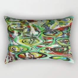 Through the Vine Abstract Watercolor Rasta Painting Rectangular Pillow