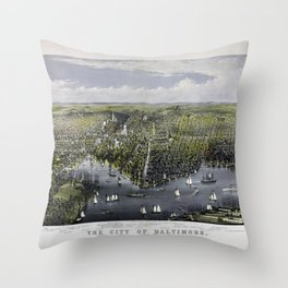 The City of Baltimore by Currier & Ives (1880) Throw Pillow
