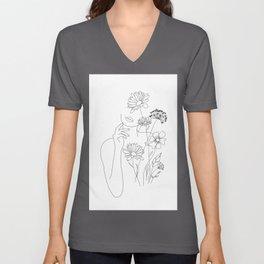 Minimal Line Art Woman with Flowers III Unisex V-Neck