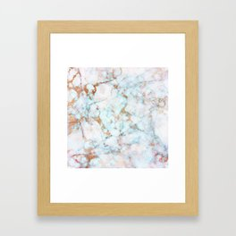 Soft Whites, Aquas and Blush of Pink and Rose Gold Veins Marble Framed Art Print