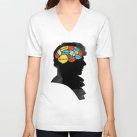 conan V-neck T-shirts featuring Sherlock Phrenology by Wharton
