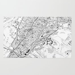 Vintage Map of Jersey City NJ (1967) BW Rug