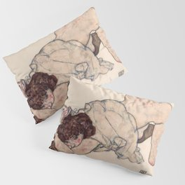 Egon Schiele - Kneeling Girl, Resting on Both Elbows Pillow Sham