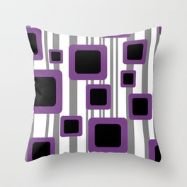 Geometry Rectangles violet Black - grey Stripes Throw Pillow