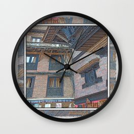 BHAKTAPUR NEPAL BRICKS WINDOWS WIRES Wall Clock