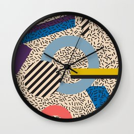 Memphis Inspired Pattern 3 Wall Clock