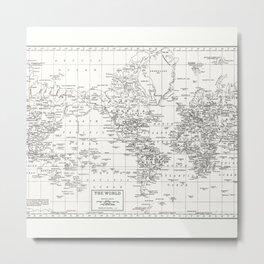 White World Map Metal Print