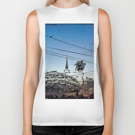 over smal trown the sunset Biker Tank
