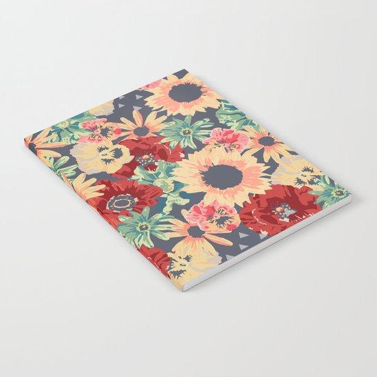 SEPIA FLOWERS -poppies, pansies & sunflowers- Notebook