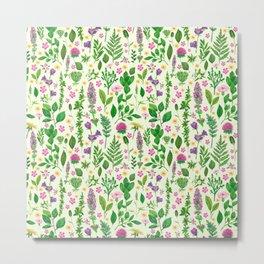 Green florals Metal Print