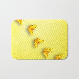 Butterflies on buttercup yellow chevron pattern Bath Mat