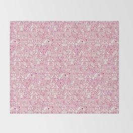 retro circus pink ivory Throw Blanket