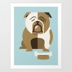 Bulldog - Blue Variant Art Print