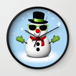 Cool Snowman with Shades and Adorable Smirk Wall Clock