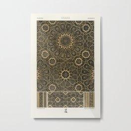 Arabian pattern from Lornement Polychrome (1888) by Albert Racinet (1825-1893) Metal Print