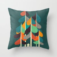 cabin Throw Pillows featuring Cabin in the woods by Picomodi