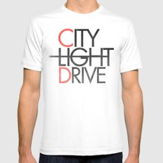 City Light Drive White MEDIUM Mens Fitted Tee