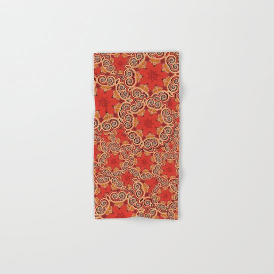K143 - Red Curls Abstract Hand & Bath Towel