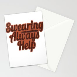 "Fan of Swearing? This ""Swearing Always help"" Funny, simple yet eye-catching design is made  for you! Stationery Cards"