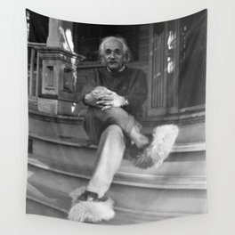 Albert Einstein in Fuzzy Slippers Classic Black and White Satirical Photography - Photographs Wall Tapestry