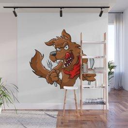Big bad cartoon wolf. Wall Mural