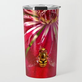 Flowers & bugs RED PASSION FLOWER & HOVERFLY Travel Mug