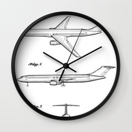 Boeing 777 Airliner Patent - 777 Airplane Art - Black And White Wall Clock