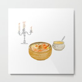 Watercolor Illustration of a Cuisine - Thick Soups and Stews Metal Print
