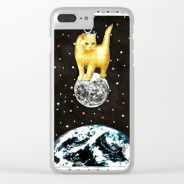Selene greek goddess cat of the moon handcut collage Clear iPhone Case
