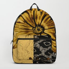 ANIMAL PRINT BLACK AND GOLD FLOWER MEDALLION Backpack