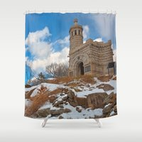 battlefield Shower Curtains featuring Winter Gettysburg Castle by Nicolas Raymond