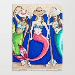 Sunbathing Mermaids Poster