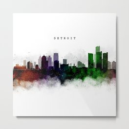 Detroit Watercolor Skyline Metal Print
