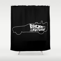 delorean Shower Curtains featuring Back To The Future, DeLorean, 30th anniversary, 1985-2015, black background by juStArt